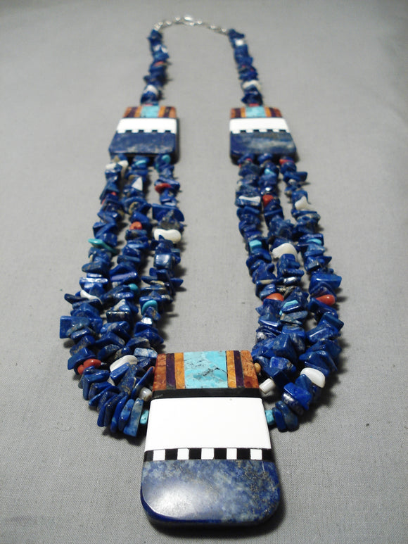 Native American Museum Vintage Santo Domingo Huge Lapis Sterling Silver Turquoise Necklace