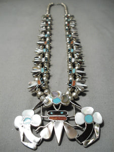 Authentic Vintage Native American Zuni Turquoise Sterling Silver Bug Squash Blossom Necklace