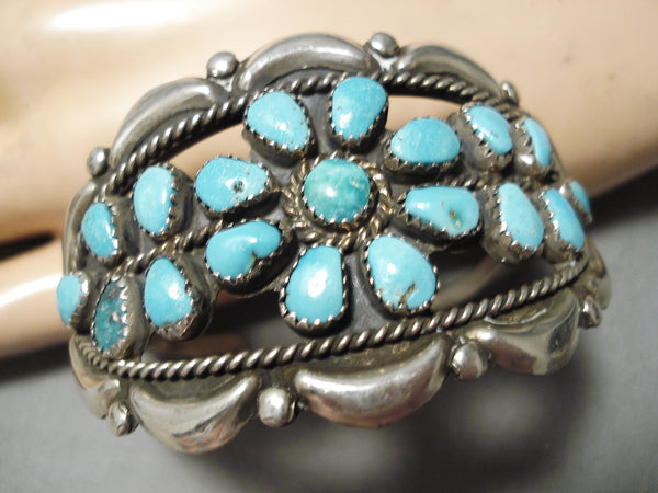 Huge Vintage Native American Navajo Repoussed Turquoise Sterling Silver Bracelet Old