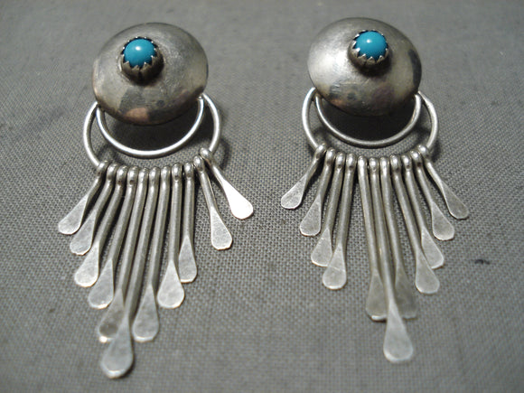 Exquisite Vintage Native American Navajo Sleeping Beauty Turquoise Sterling Silver Earrings