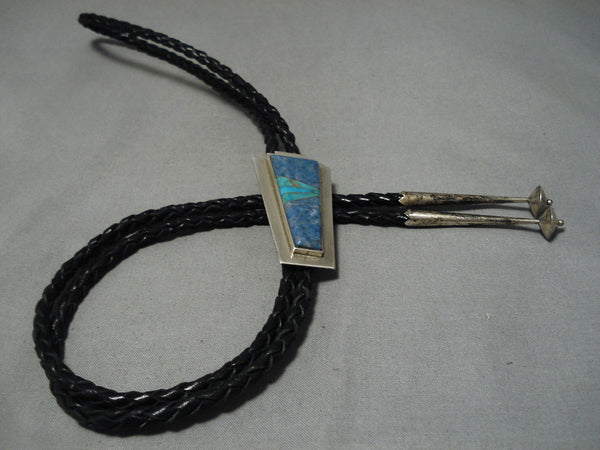 Amazing Thompson Native American Navajo Vintage Turquoise Lapis Inlay Sterling Silver Bolo Tie