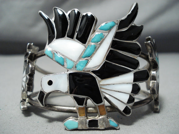 Native American Best Vintage Navajo Turquoise Inlay Eagle Sterling Silver Bracelet
