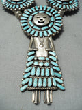 Huge Detailed Vintage Native American Navajo Turquoise Sterling Silver Squash Blossom Necklace