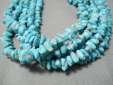 Native American One Of The Best Huge Long Cone Sterling Silver Turquoise Necklace Old