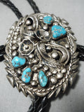 Astounding Vintage Native American Navajo Detailed Sterling Silver Leaf Turquoise Bolo Tie