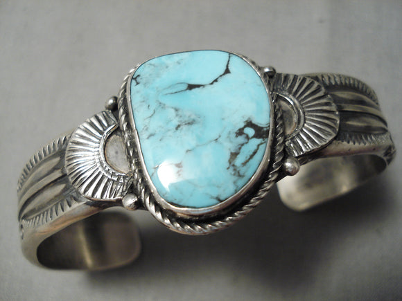 Thick Heavy Vintage Native American Navajo Blue Diamond Turquoise Sterling Silver Bracelet