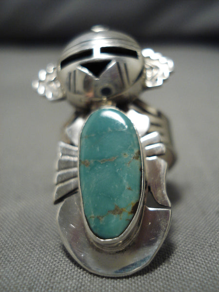 So Intricate!! Native American Navajo Sterling Silver Kachina Royston Turquoise Ring
