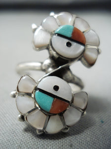 Spectacular Vintage Native American Zuni Inlay Turquoise Coral Mother Of Pearl Sunface Ring