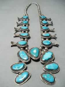 Signed Vintage Native American Navajo Blue Turquoise Sterling Silver Squash Blossom Necklace