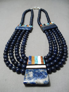 Native American One Of The Best Santo Domingo Lapis Sterling Silver Necklace