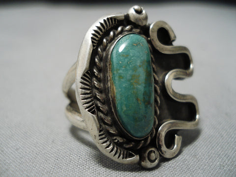 Incredible Vintage Native American Navajo Royston Turquoise Sterling Silver Ring