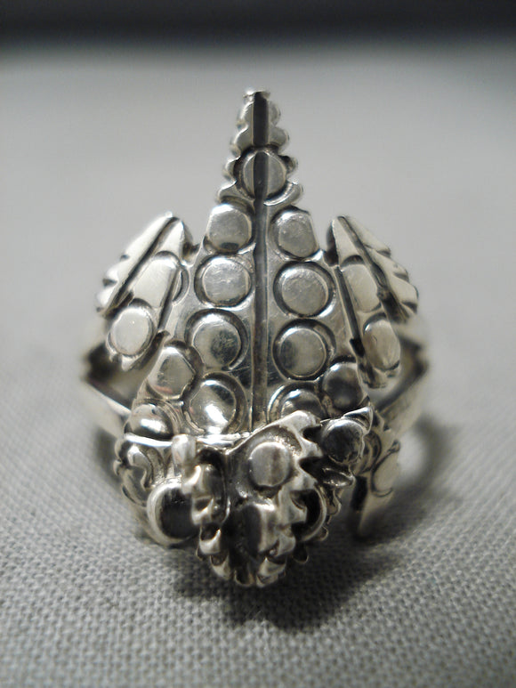 Detailed Toad Navajo Sterling Silver Toad Ring Native American