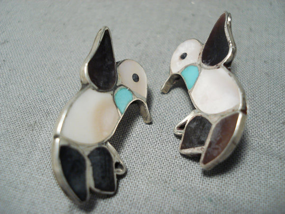 Dancing Birds Vintage Native American Zuni Turquoise Sterling Silver Earrings Old
