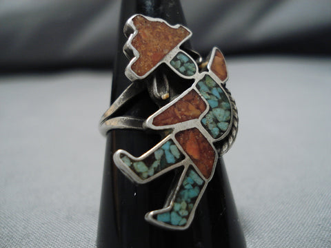 Amazing Vintage Zuni Native American Sterling Silver Turquoise Ring Old