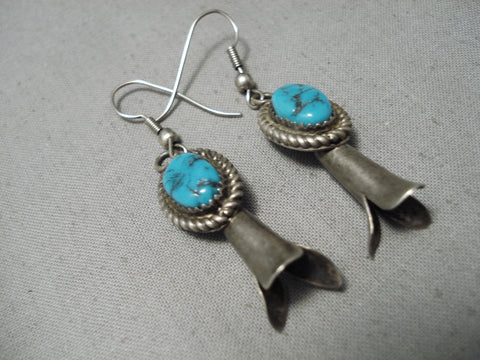 Stunning Vintage Native American Navajo Squash Blue Turquoise Sterling Silver Earrings Old