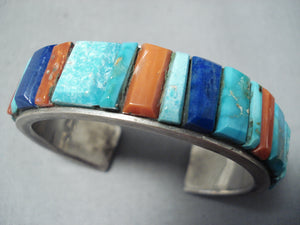 Thick Vintage Native American Navajo Turquoise Inlay Sterling Silver Bracelet Cuff
