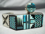 Native American One Of The Best Vintage Navajo Turquoise Opal Inlay Sterling Silver Bracelet