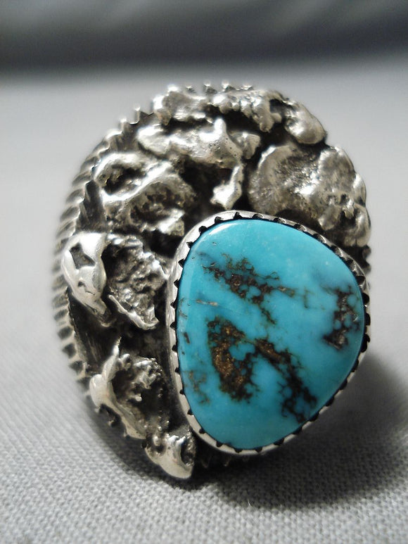 Interesting Vintage Native American Navajo Kingman Turquoise Sterling Silver Ring Old