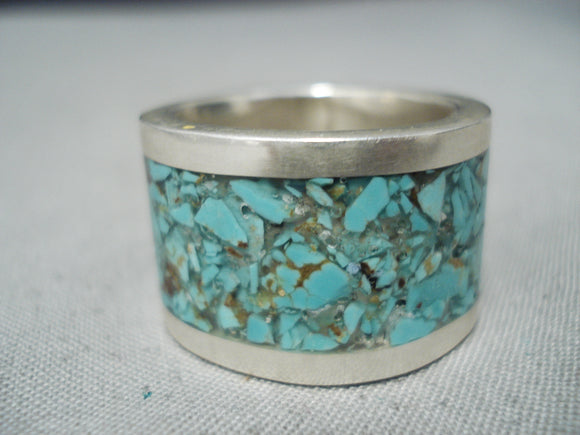 Unique Vintage Native American Navajo Turquoise Chip Inlay Sterling Silver Ring
