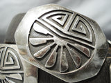 Intricate Vintage Hopi Native American Navajo Sterling Silver Geomtric Concho Belt Old