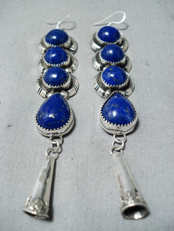 Important Navajo Lapis Sterling Silver Earrings Native American
