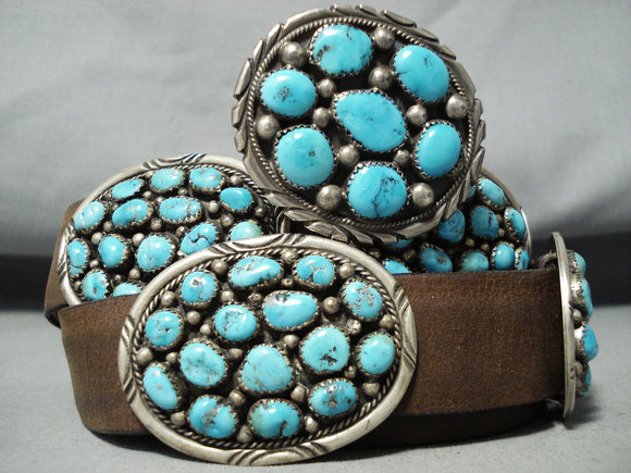 Important Tom Moore Vintage Native American Navajo Turquoise Sterling Silver Concho Belt