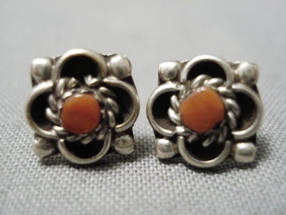 Impressive Vintage Navajo Coral Native American Sterling Silver Earrings Old