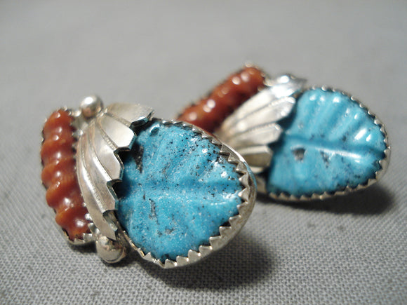 Dynamic Vintage Zuni Turquoise Sterling Silver Earrings Native American Old
