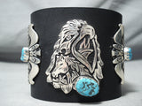 rich singer Native American Navajo Sleeping Beauty Turquoise Sterling Silver Bowguard