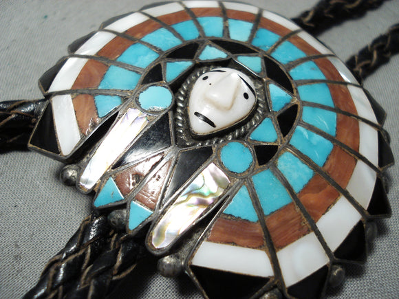 One Of The Most Detailed Ever Vintage Native American Zuni Turquoise Sterling Silver Bolo Tie