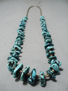 Chunky Vintage Navajo Turquoise Nugget Native American Heishi Necklace Old