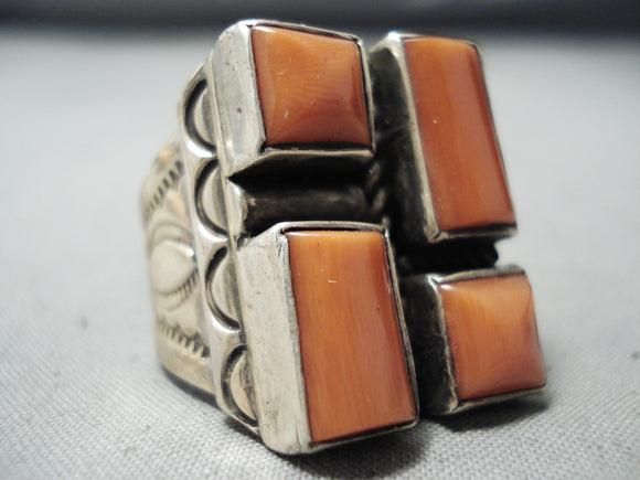 Important Vintage Native American Navajo Joe Chee Coral Sterling Silver Ring Old