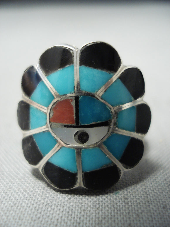 Superior Vintage Zuni Turquoise Sterling Silver Ring Native American Old