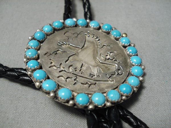 Flying Eagle Vintage Native American Navajo Snake Eyes Turquoise Sterling Silver Bolo Tie