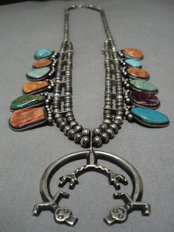 Important Gregory Pat Vintage Native American Navajo Sterling Silver Squash Blossom Necklace