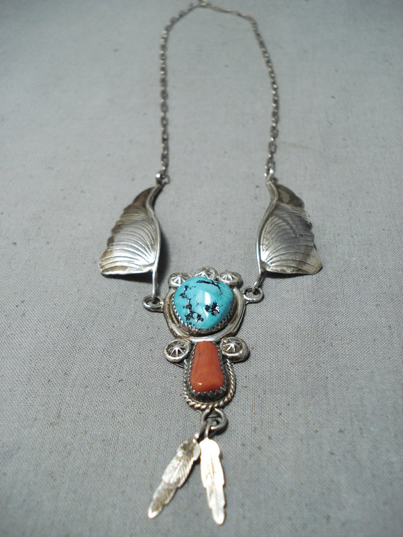 Dramatic Vintage Native American Navajo Sleeping Beauty Turquoise Sterling Silver Necklace Old