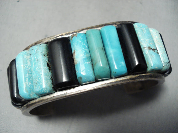 Thick Heavy Vintage Native American Navajo Carico Lake Turquoise Sterling Silver Inlay Bracelet