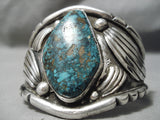 Important Blue Warrior Turquoise Vintage Native American Navajo Sterling Silver Bracelet