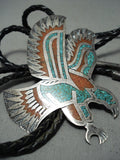Soaring Eagle Vintage Native American Navajo Turquoise Coral Sterling Silver Eagle Bolo Tie