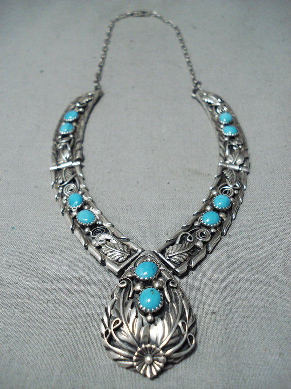 Majestic Vintage Native American Navajo Sleeping Beauty Turquoise Sterling Silver Necklace Old