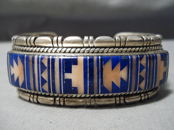 One Of Best Vintage Native American Navajo Tommy Jackson Lapis Coral Sterling Silver Bracelet
