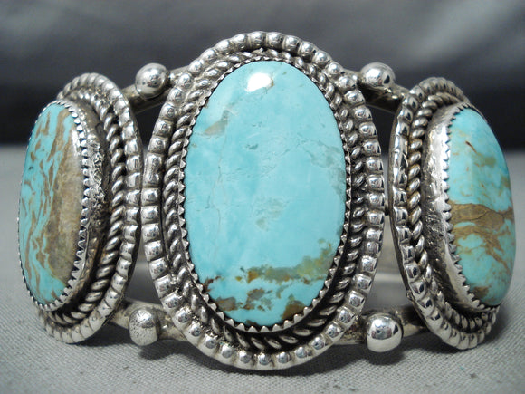 Important Verdy Jake Vintage Native American Navajo #8 Turquoise Sterling Silver Bracelet