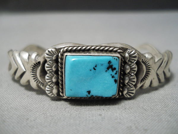 Stunning Vintage Native American Navajo Squared Turquoise Sterling Silver Bracelet Old