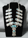 Vintage Native American Navajo Turquoise Sterling Silver Kachina Squash Blossom Necklace