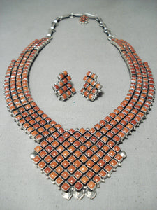 Extremely Rare Alice Lister Coral Sterling Silver Native American Navajo Necklace