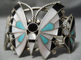 Incredible Wingpsan Vintage Native American Zuni Native Sterling Silver Butterfly Bracelet