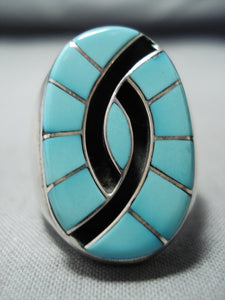 Dazzling Vintage Native American Zuni Blue Gem Turquoise Inlay Sterling Silver Ring