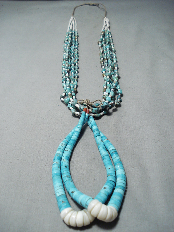 Exceptional Vintage Native American Navajo Royston Old Kingman Turquoise Heishi Necklace
