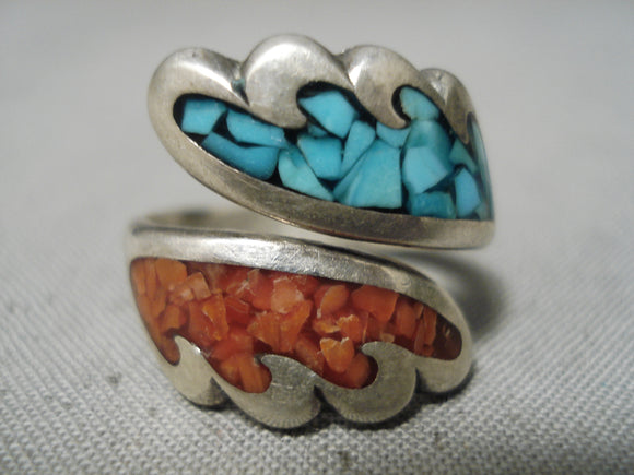 Intricate Vintage Native American Navajo Turquoise Coral Sterling Silver Ring Old