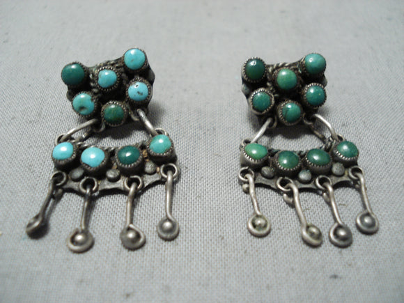 Early 1900's Vintage Native American Navajo Cerrillos Turquoise Sterling Silver Earrings